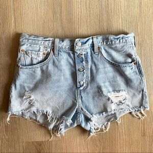 Levi's 30 Light High Distressed Destroyed Shorts
